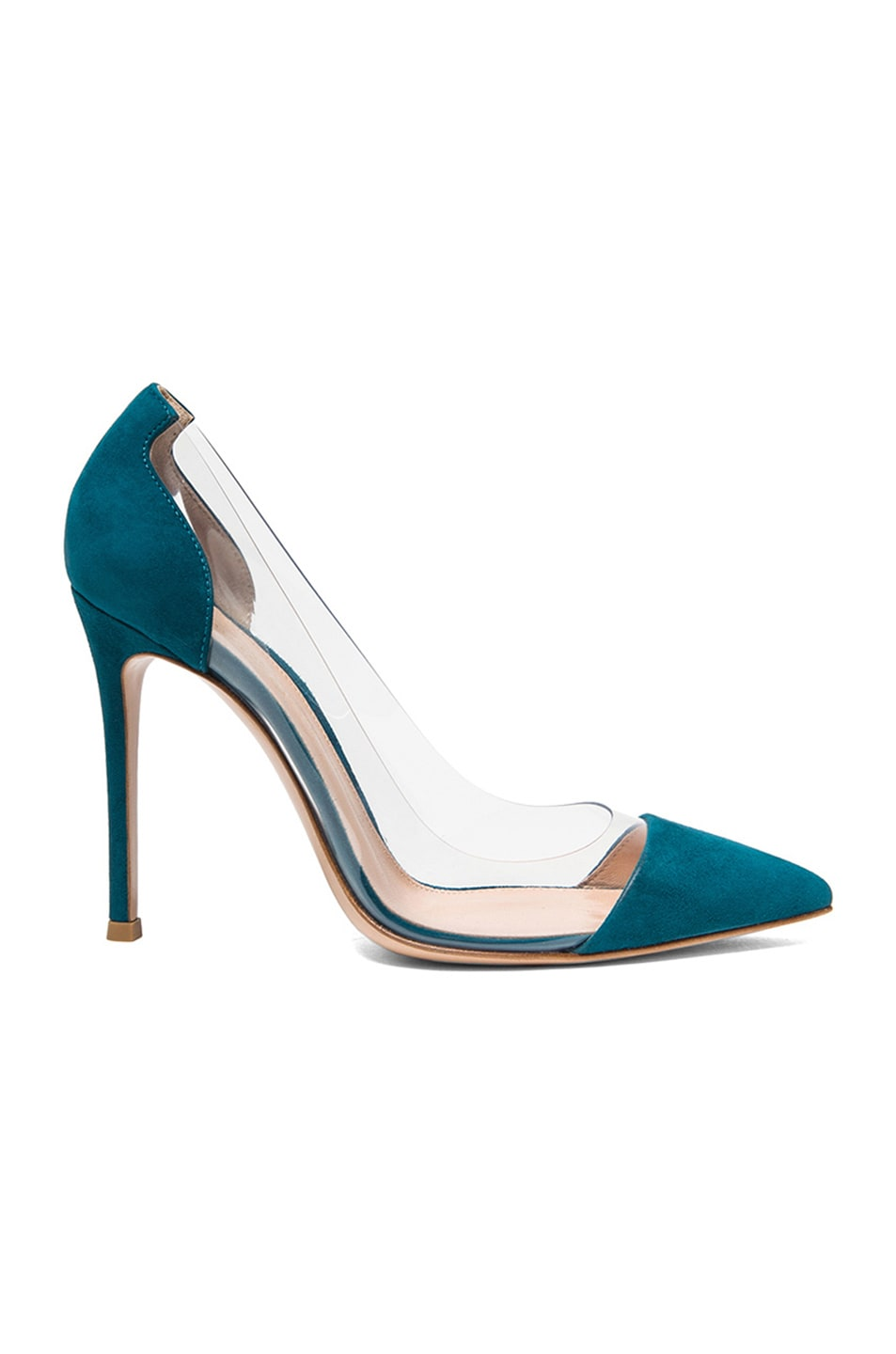 Image 1 of Gianvito Rossi Suede & Plexy Laser Pumps in Pavone