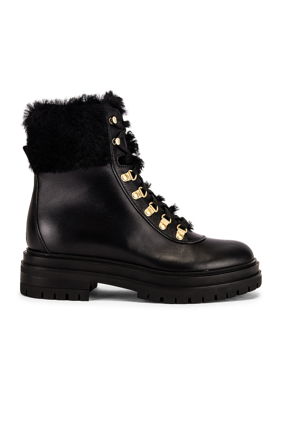 Image 1 of Gianvito Rossi Alaska Lace Up Flat Boots in Black