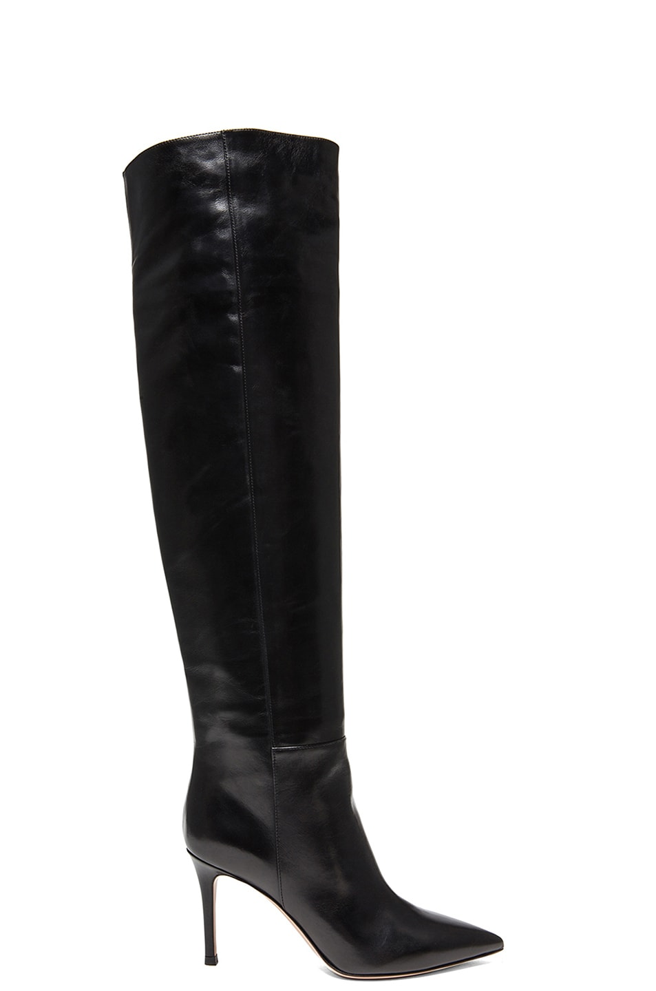 Image 1 of Gianvito Rossi Over The Knee Leather Stilo Boots in Black