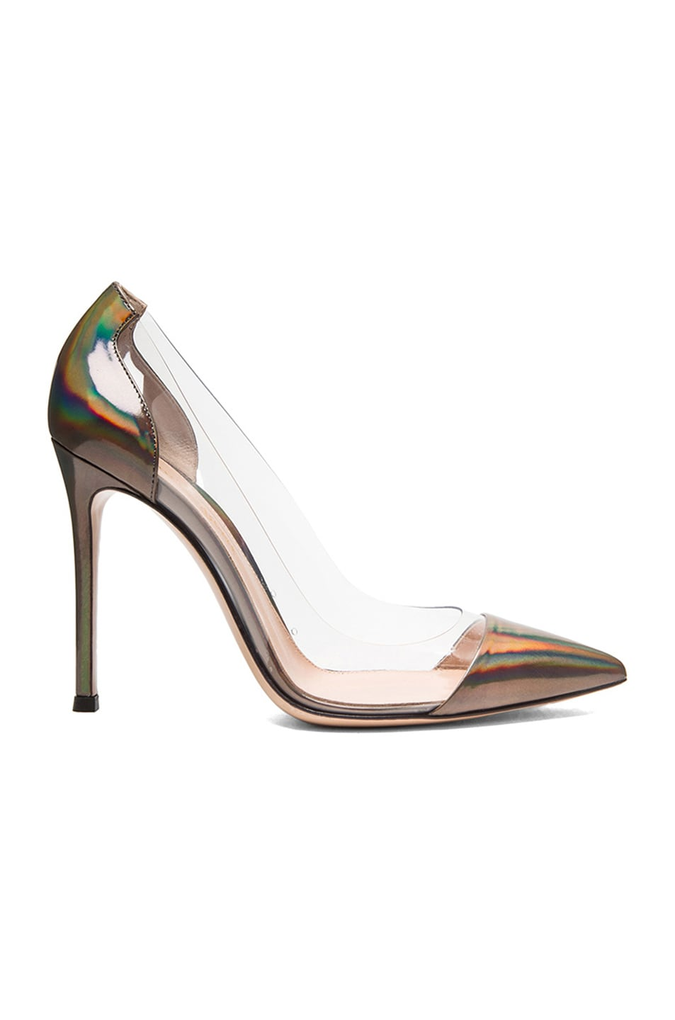 Image 1 of Gianvito Rossi Metallic Leather Plexi Pumps in Holographic