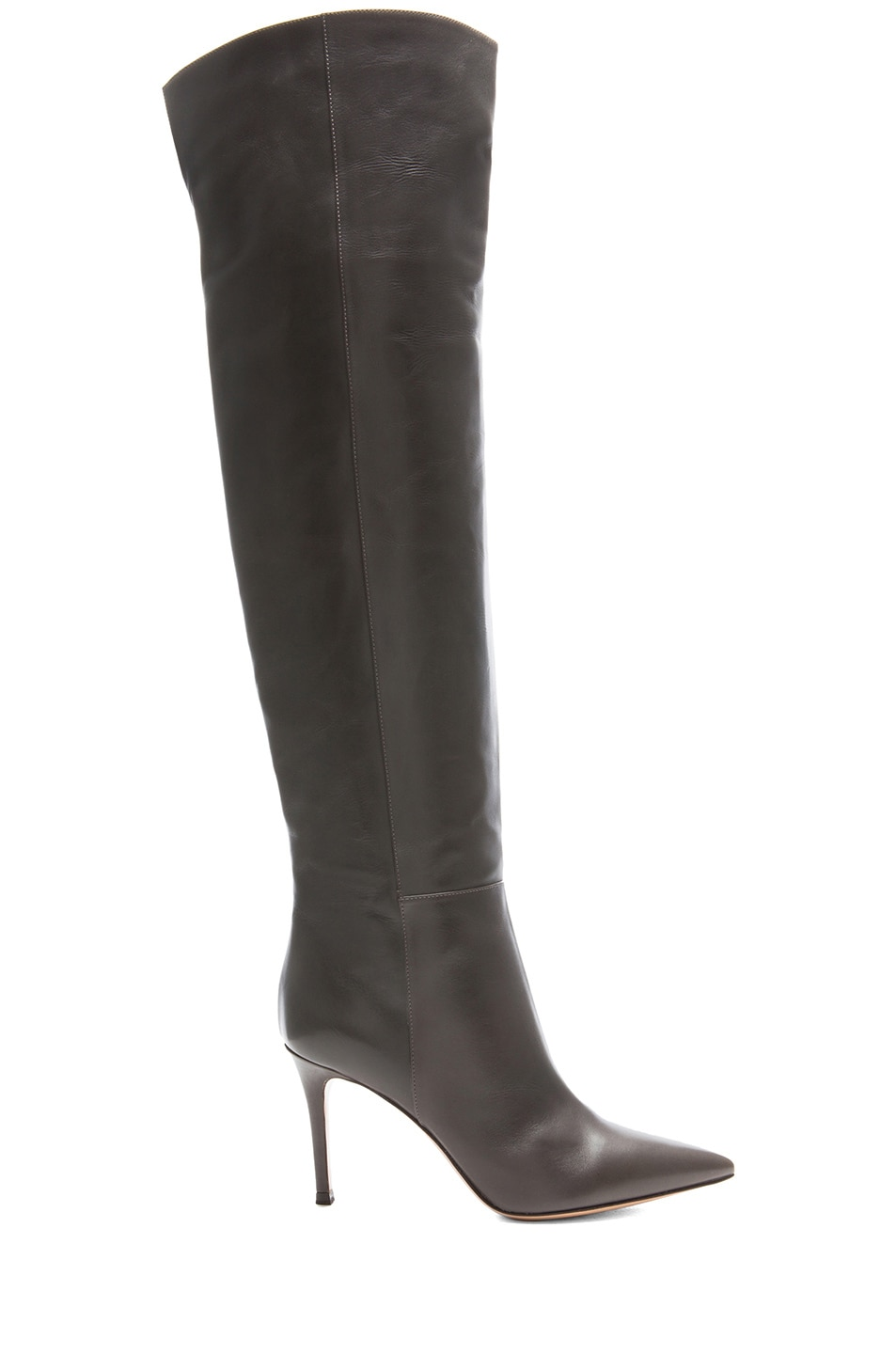 Image 1 of Gianvito Rossi Over The Knee Leather Boots in Grey
