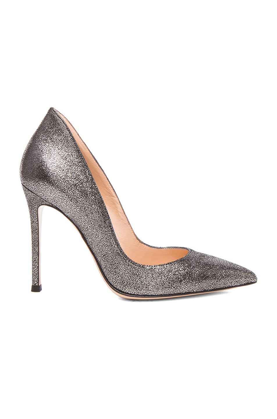 Image 1 of Gianvito Rossi Pointed Crackled Leather Pumps in Argento