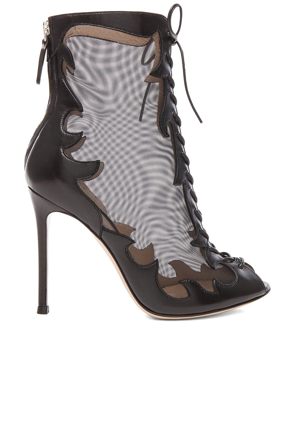 Image 1 of Gianvito Rossi Mesh Lace Up Booties in Nero