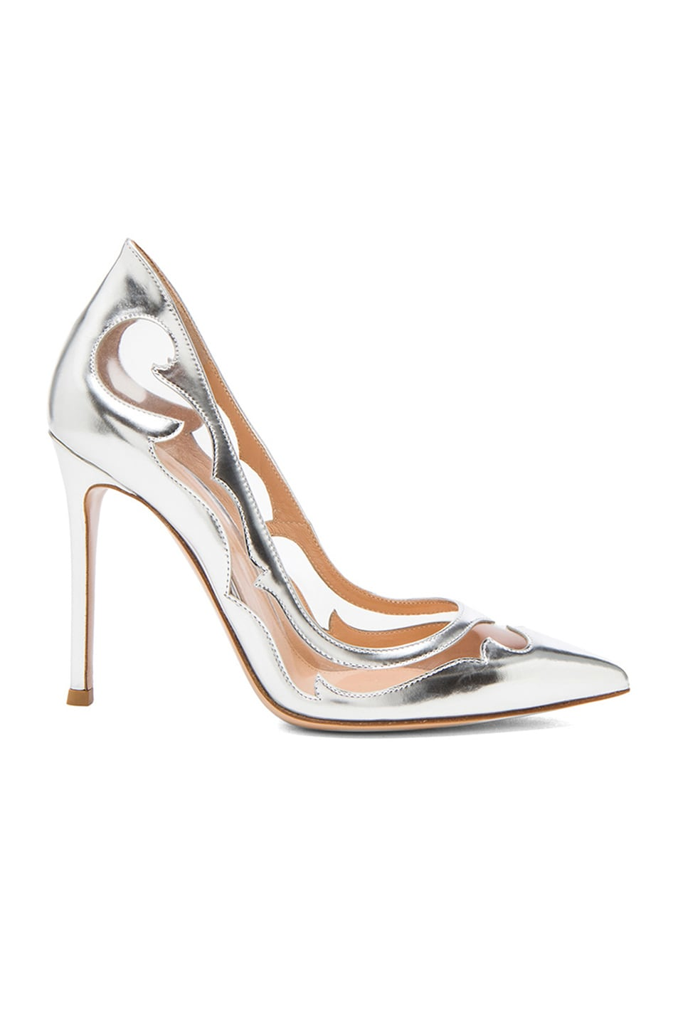 Image 1 of Gianvito Rossi Western Plexy Metallic Leather Pumps in Argento
