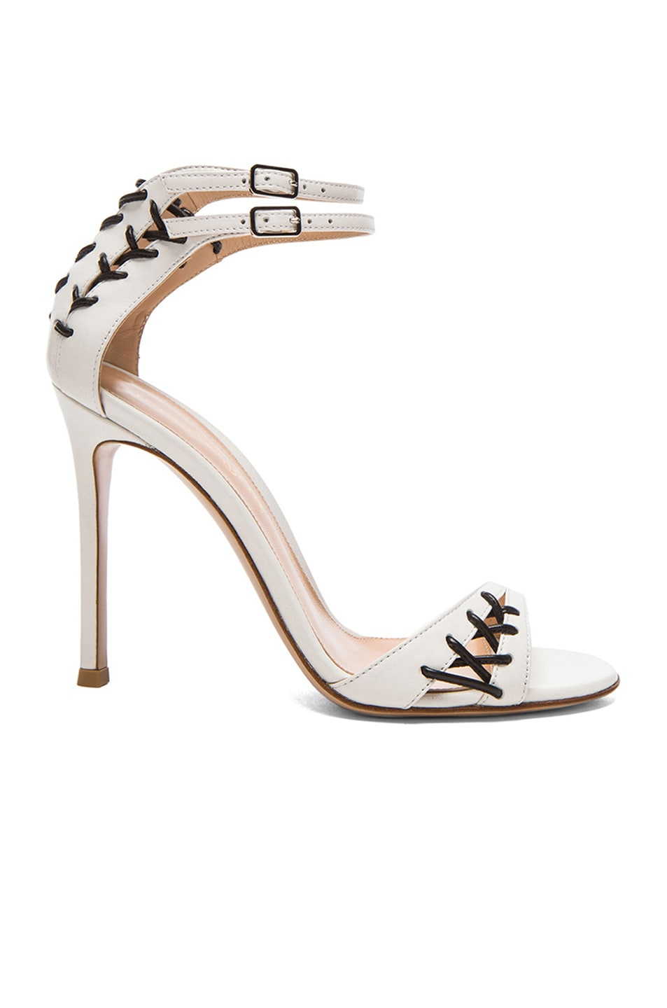 Image 1 of Gianvito Rossi Stitched Ankle Strap Leather Heels in Off White & Nero