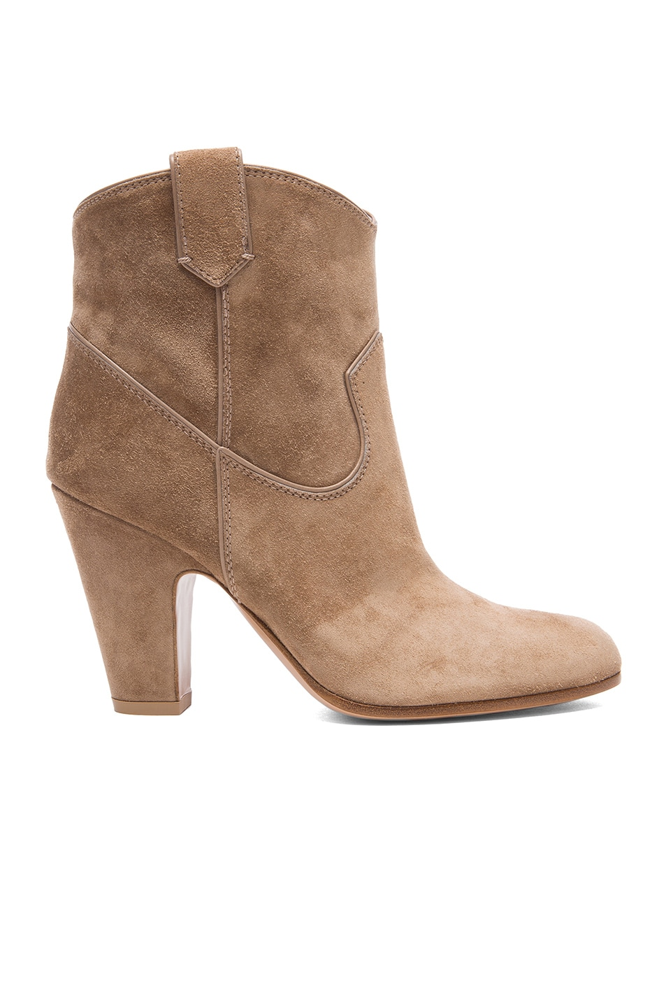 Image 1 of Gianvito Rossi Western Suede Booties in Suede Bisque
