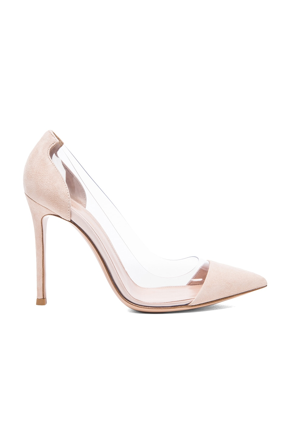 Image 1 of Gianvito Rossi Suede Plexi Pumps in Nude