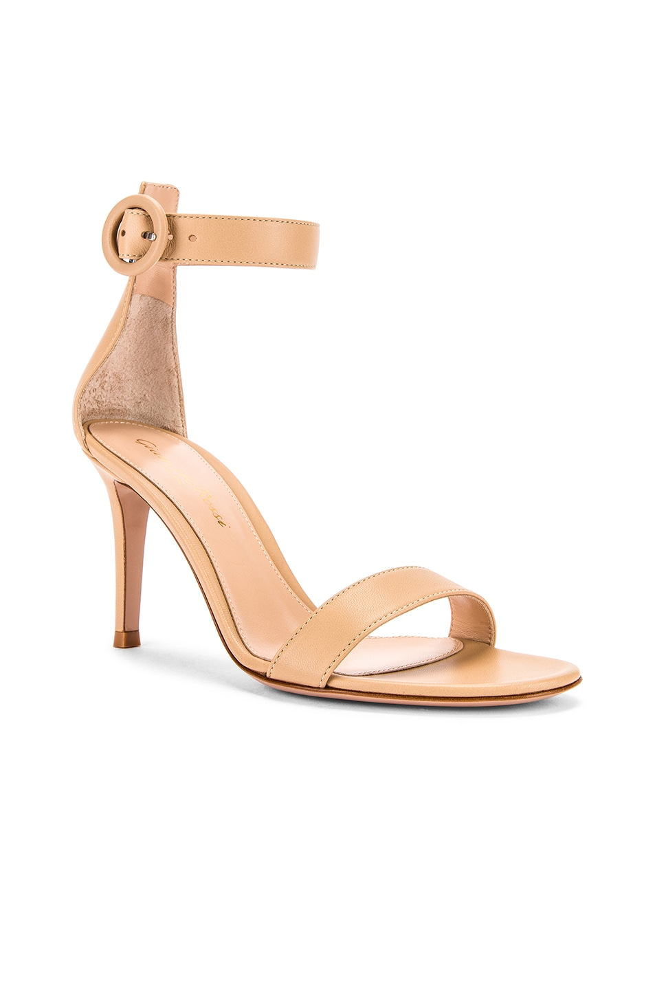 Image 2 of Gianvito Rossi Leather Portofino Heels in Nude