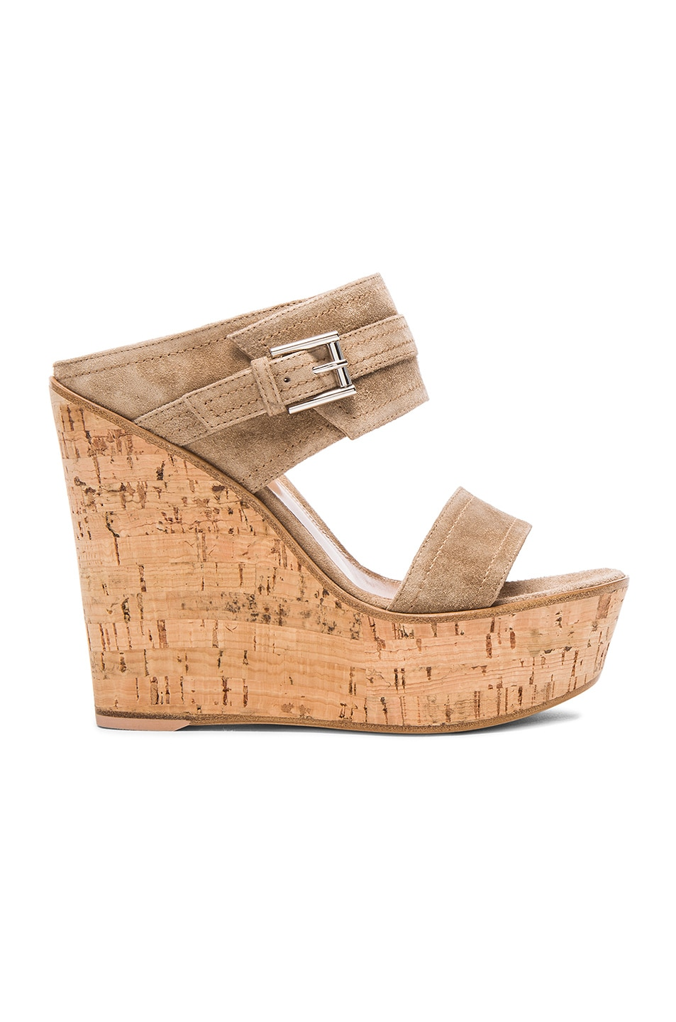 Image 1 of Gianvito Rossi Buckled Wedges in Suede Bisque