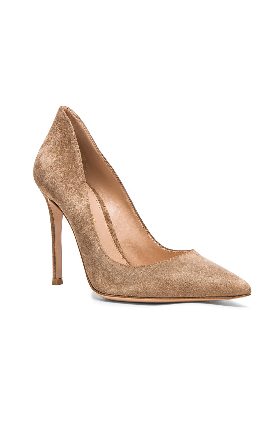 Image 2 of Gianvito Rossi Suede Ellipsis Pumps in Camel