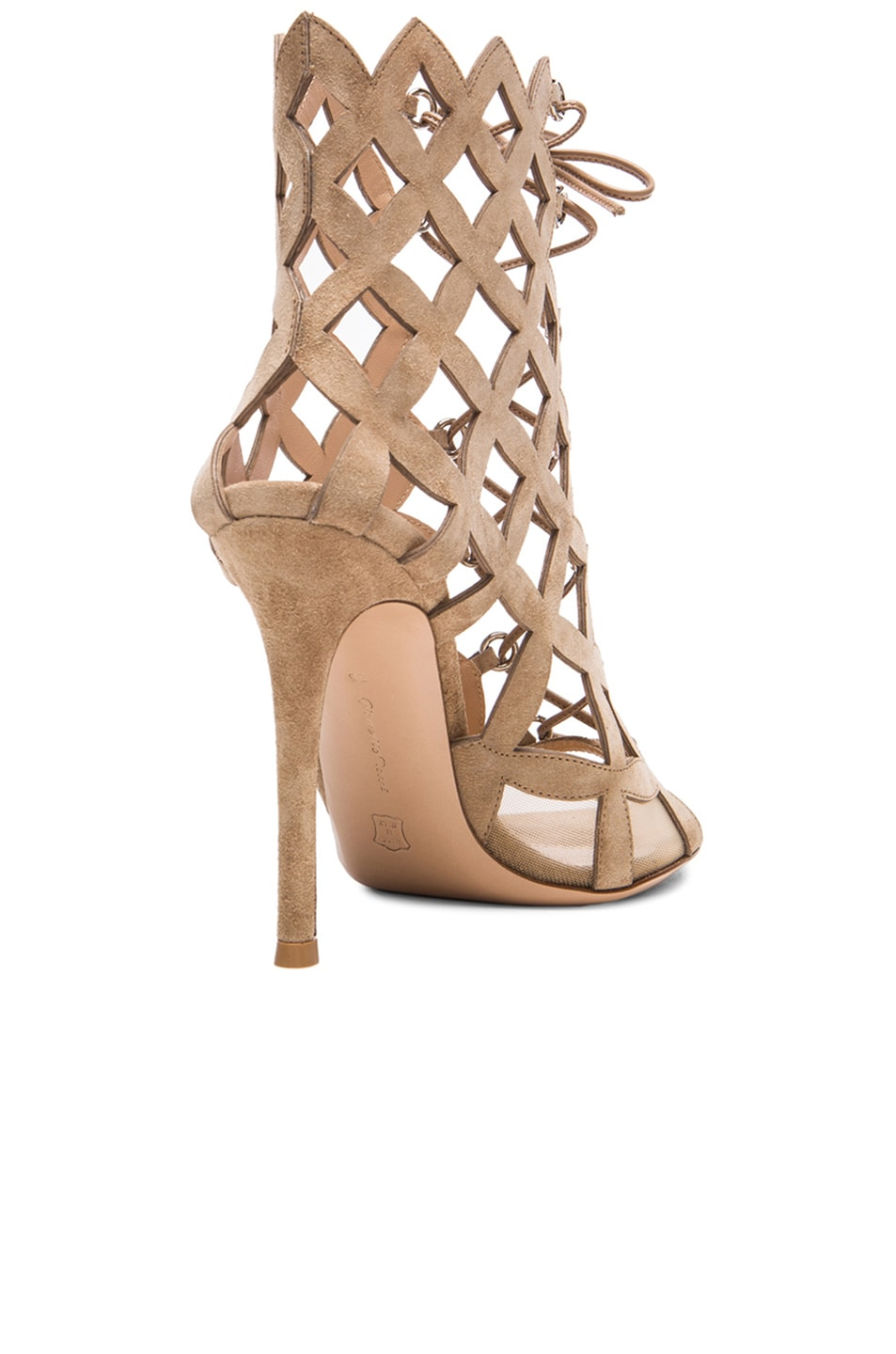 Image 3 of Gianvito Rossi Lace Up Cut Out Heels in Suede Bisque