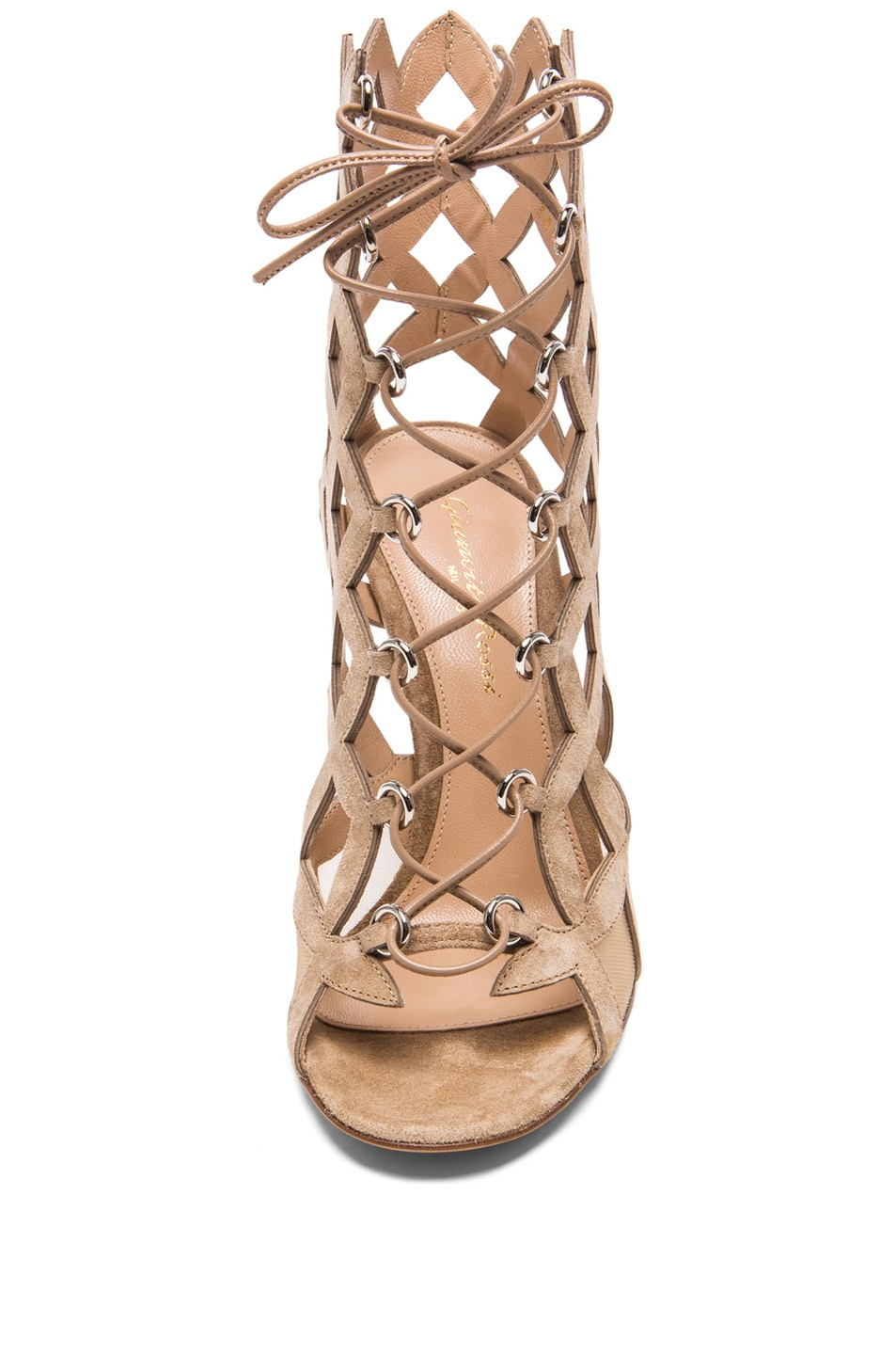 Image 4 of Gianvito Rossi Lace Up Cut Out Heels in Suede Bisque