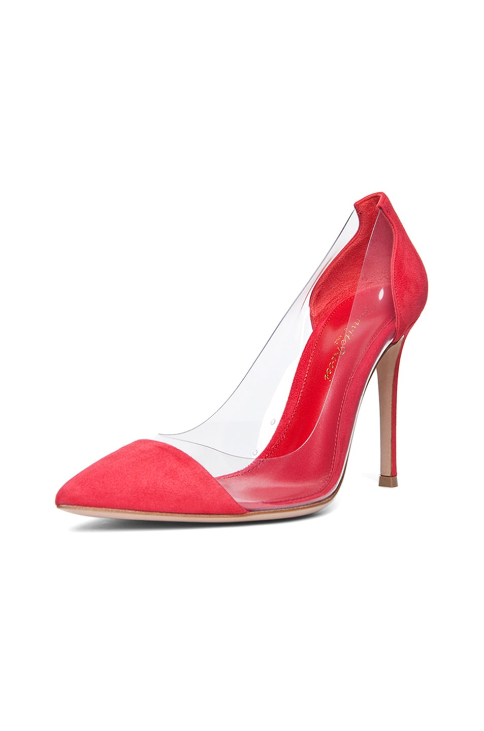 Image 2 of Gianvito Rossi Suede Plexi Pumps in Red