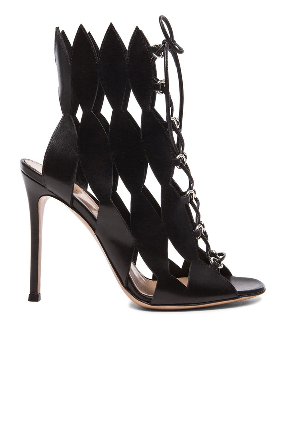 Image 1 of Gianvito Rossi Leather Cut Out Heels in Black