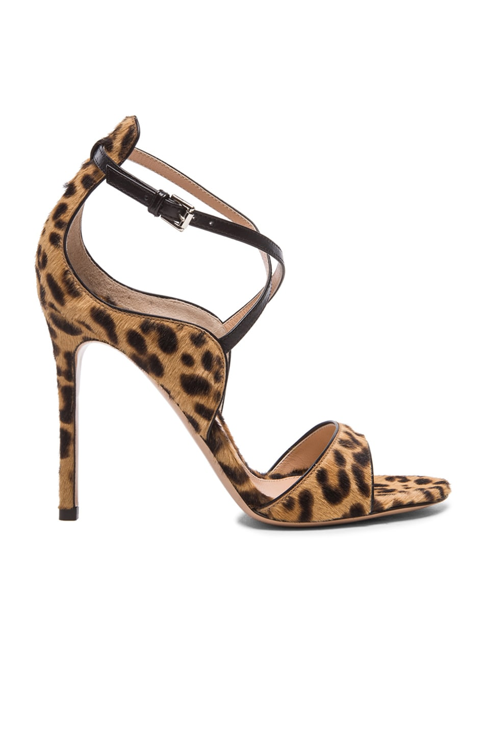 Image 1 of Gianvito Rossi Strappy Calf Hair Heels in Black Leopard Print