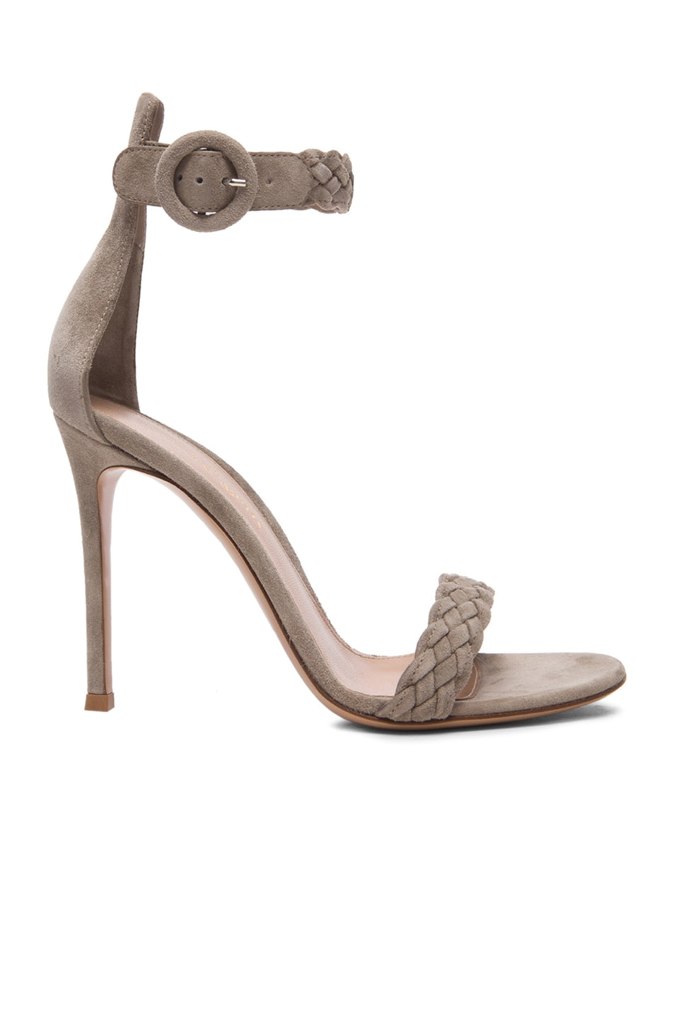 Image 1 of Gianvito Rossi Braided Ankle Strap Suede Heels in Dust Suede