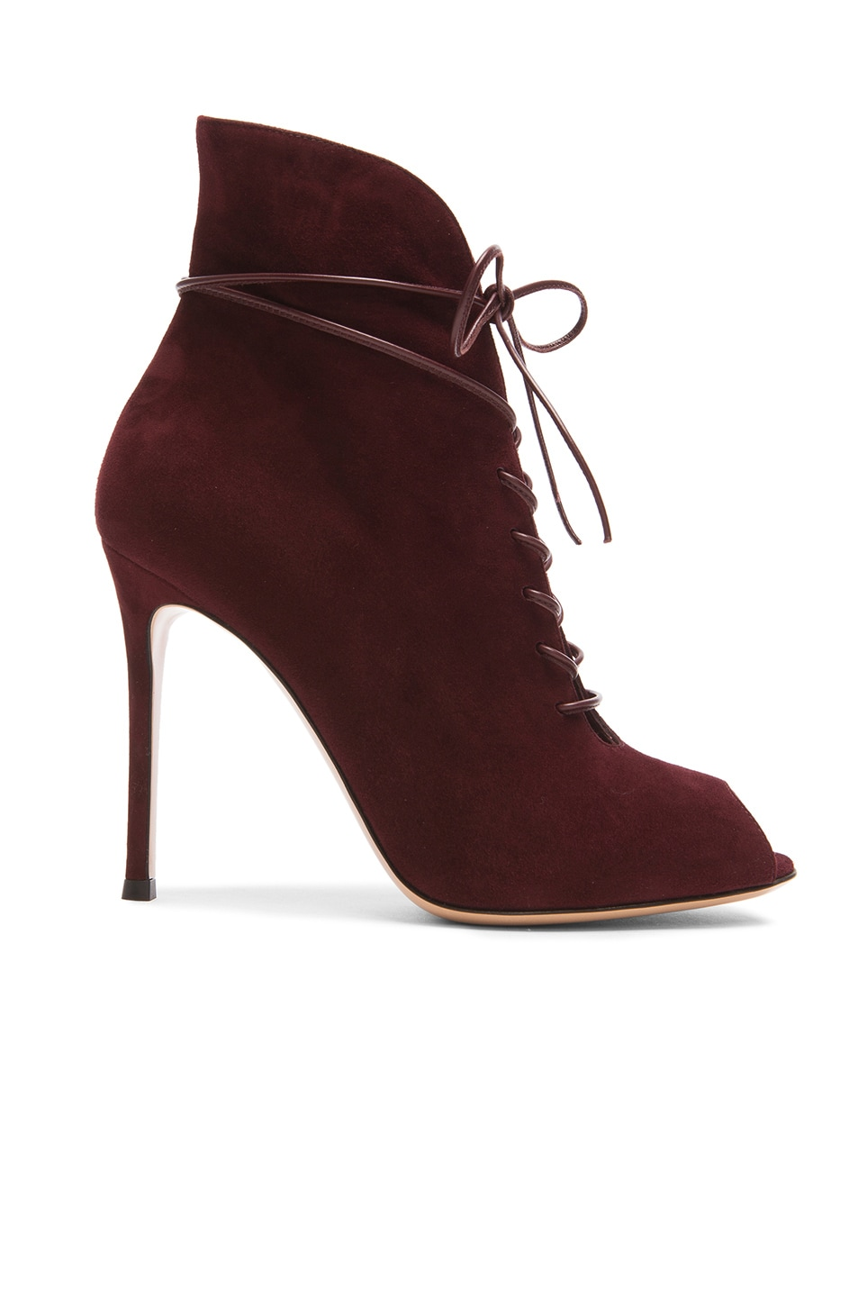 Image 1 of Gianvito Rossi Peep Toe Lace Up Suede Booties in Royal Suede