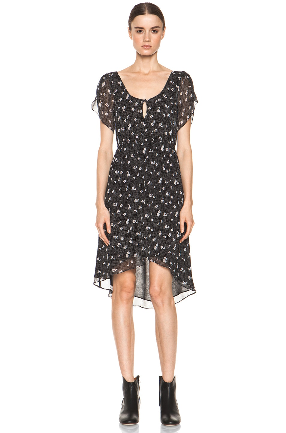 Image 1 of Girl. by Band of Outsiders Emerie Silk Dress in Ditsy Black