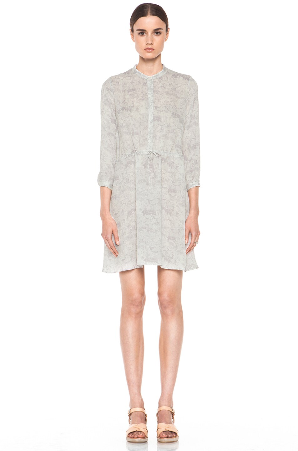 Image 1 of Girl. by Band of Outsiders Japanese Toile Silk Print Dress in Lavandar