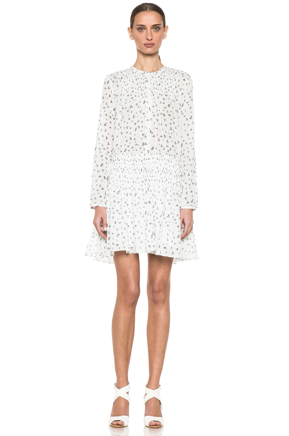 Image 1 of Girl. by Band of Outsiders Little Iris Pintuck Dress in Snow White