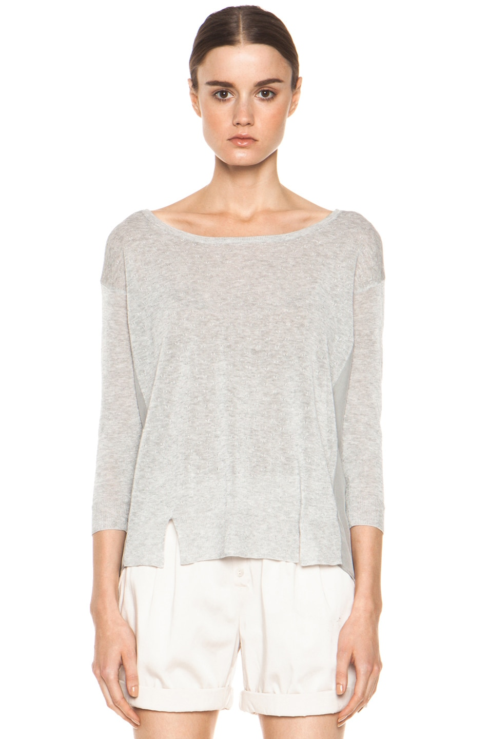 Image 1 of Girl. by Band of Outsiders Malibu Basic Sweater in Grey Heather