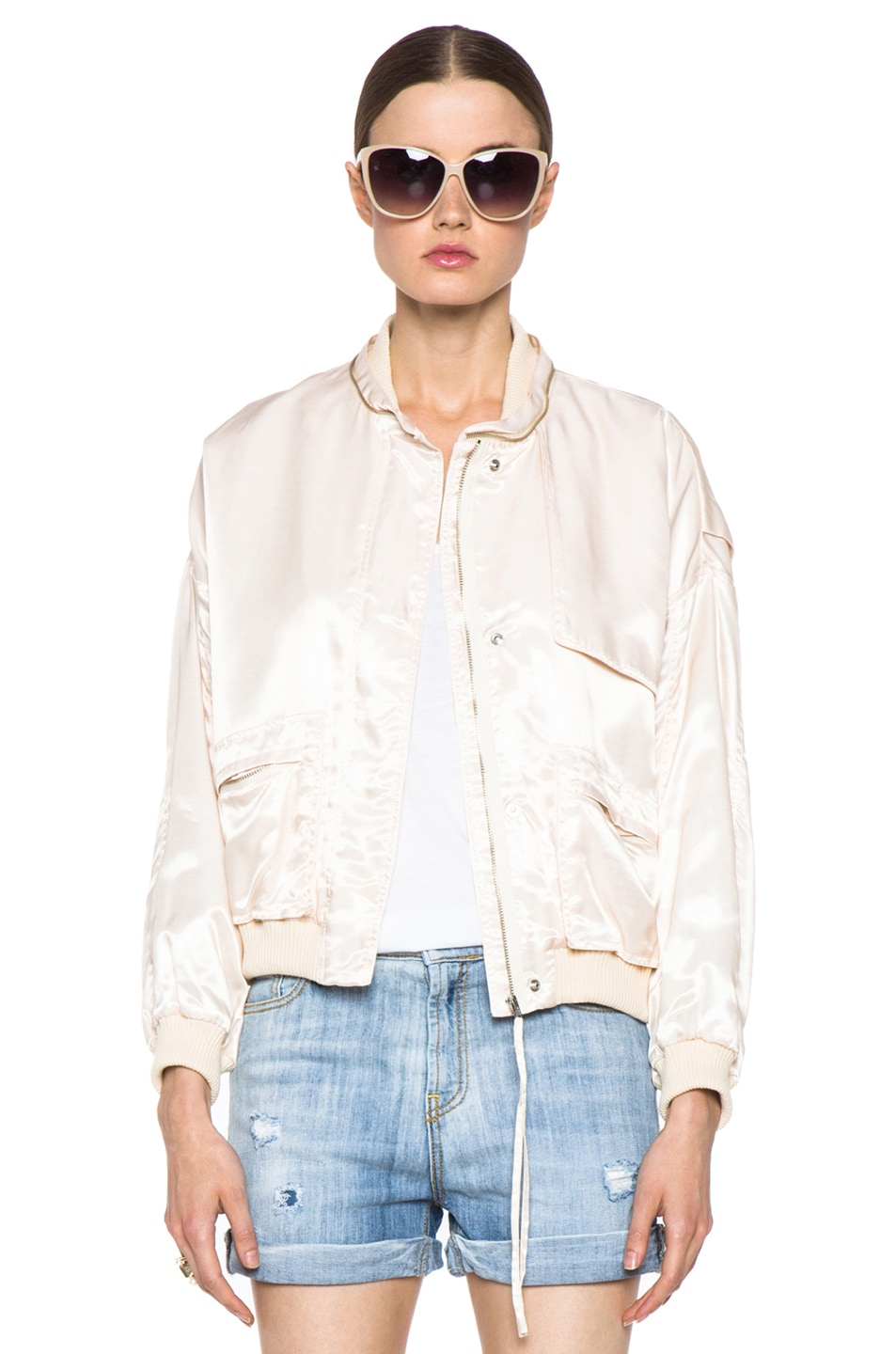Image 1 of Girl. by Band of Outsiders Flight Bomber Modal-Blend Jacket in Nude