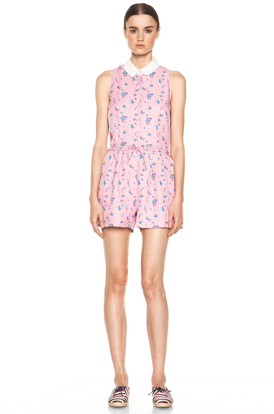 Image 1 of Girl. by Band of Outsiders Elise Silk Romper in Cameo Pink