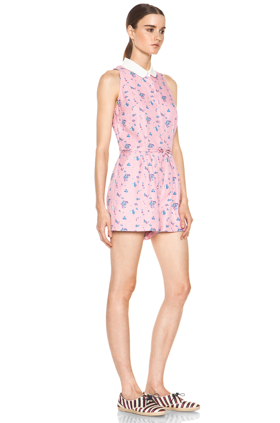 Image 3 of Girl. by Band of Outsiders Elise Silk Romper in Cameo Pink