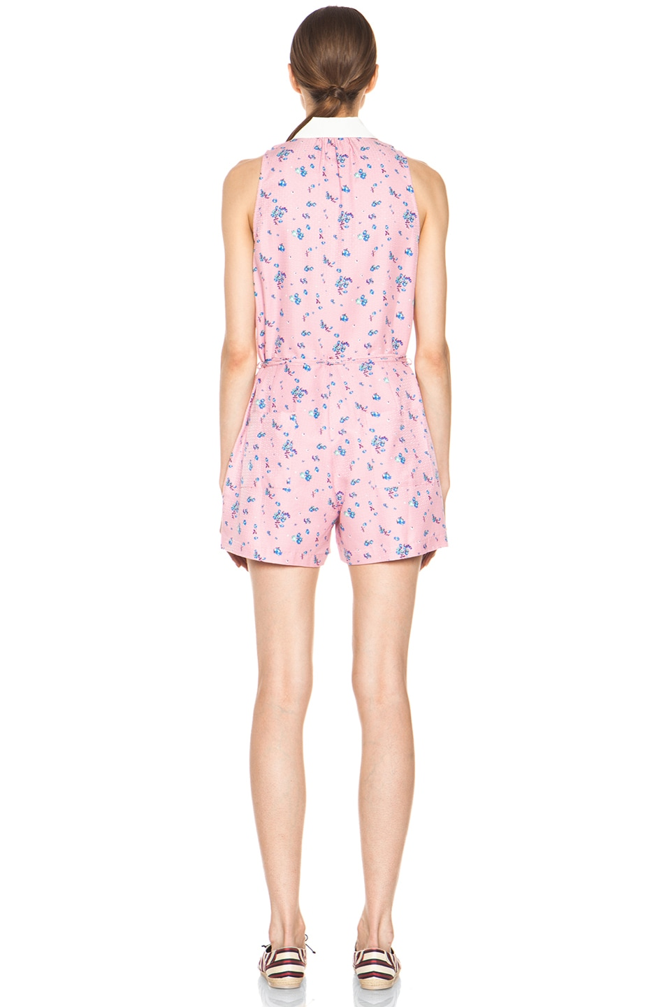 Image 4 of Girl. by Band of Outsiders Elise Silk Romper in Cameo Pink