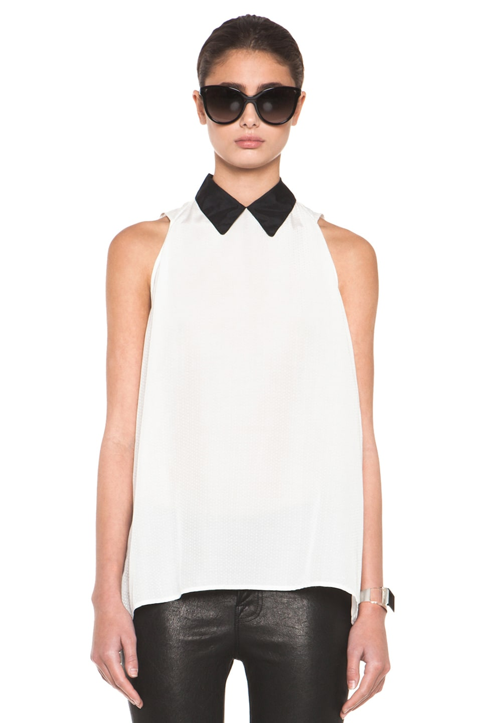 Image 1 of Girl. by Band of Outsiders Dot Jacquard Blouse in Snow White