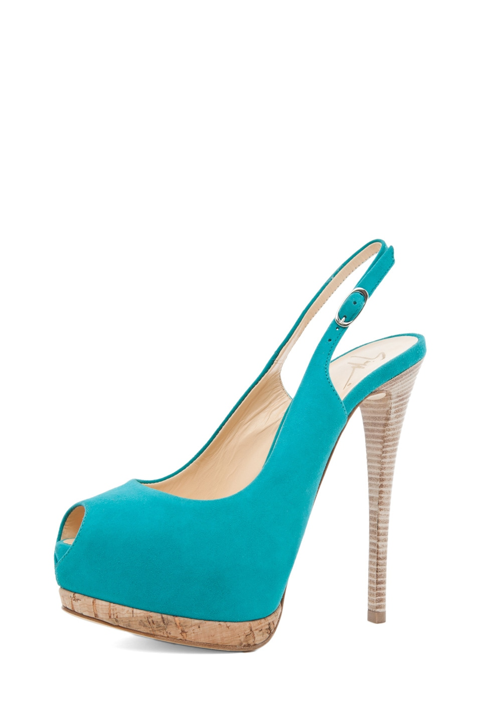Image 2 of Giuseppe Zanotti Sling Back Cork Pump in Turquoise