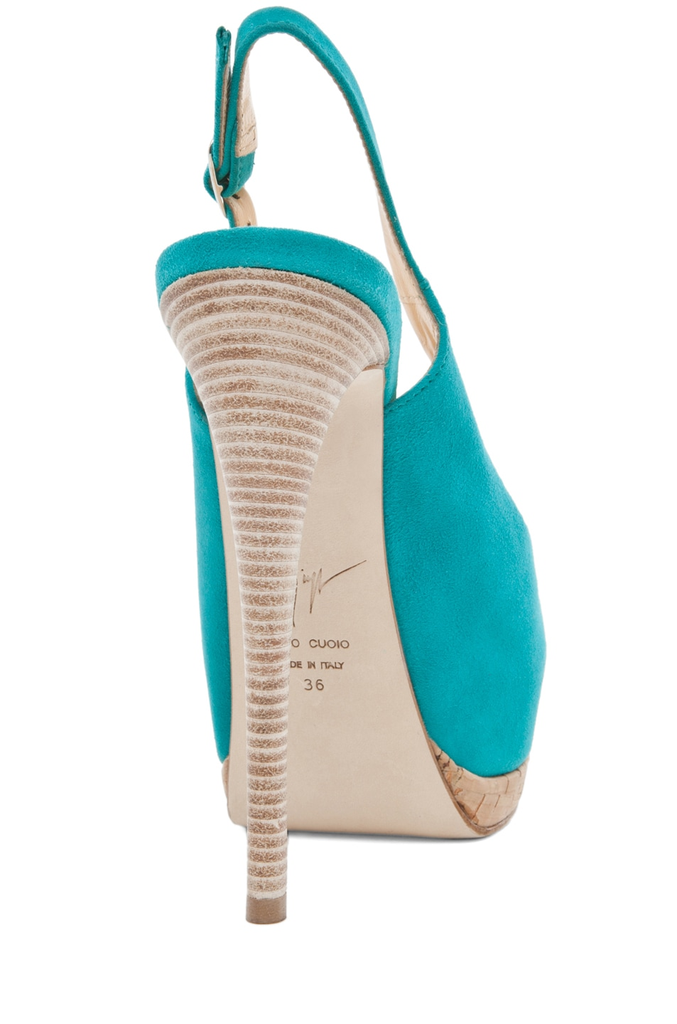 Image 3 of Giuseppe Zanotti Sling Back Cork Pump in Turquoise