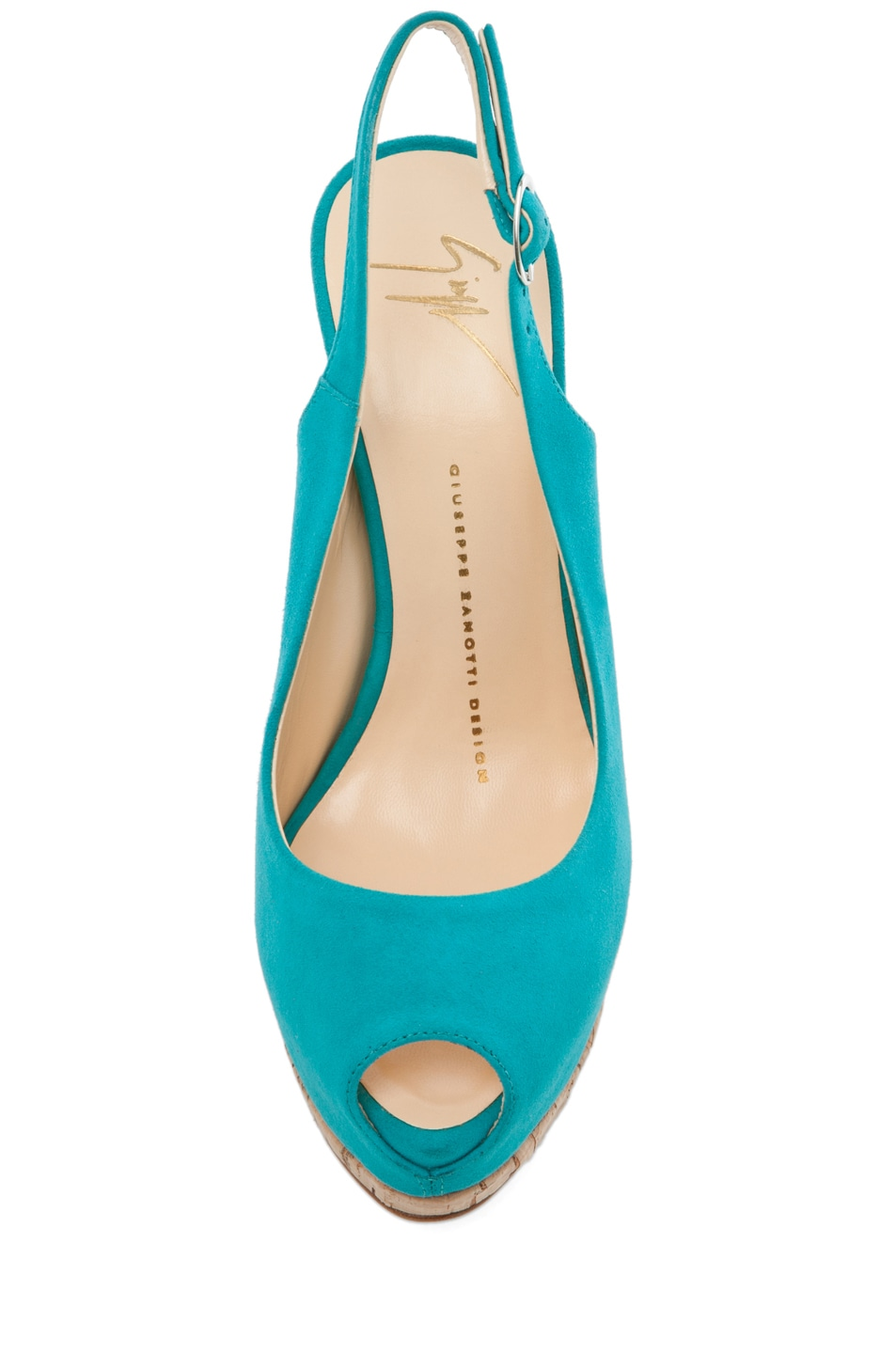 Image 4 of Giuseppe Zanotti Sling Back Cork Pump in Turquoise