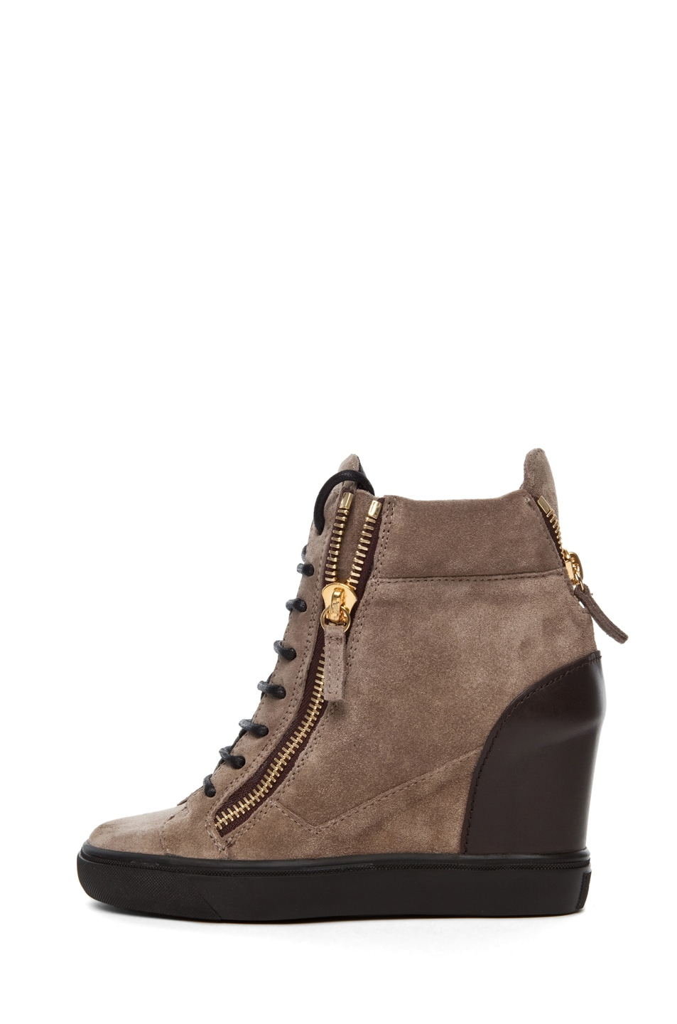 Image 1 of Giuseppe Zanotti Suede & Leather Wedge Sneakers in Taupe