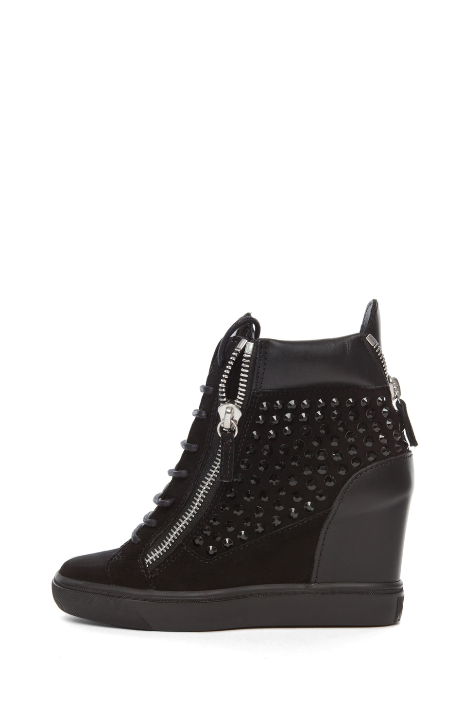 Image 1 of Giuseppe Zanotti Suede & Leather Embellished Wedge Sneakers in Black
