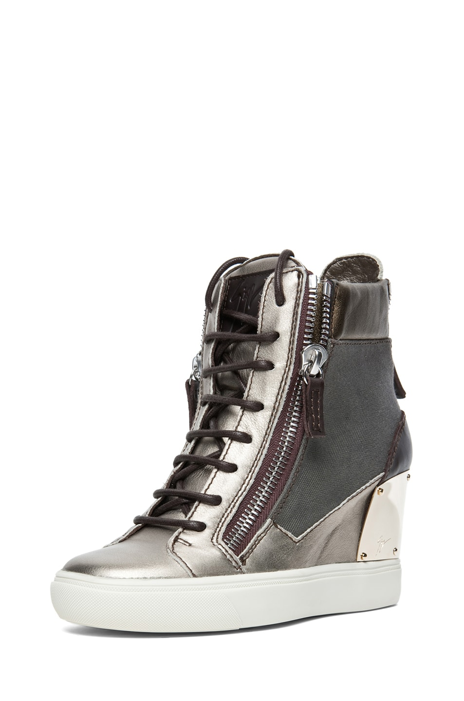 Image 2 of Giuseppe Zanotti Canvas & Leather Wedge Sneakers in Khaki & Metallic