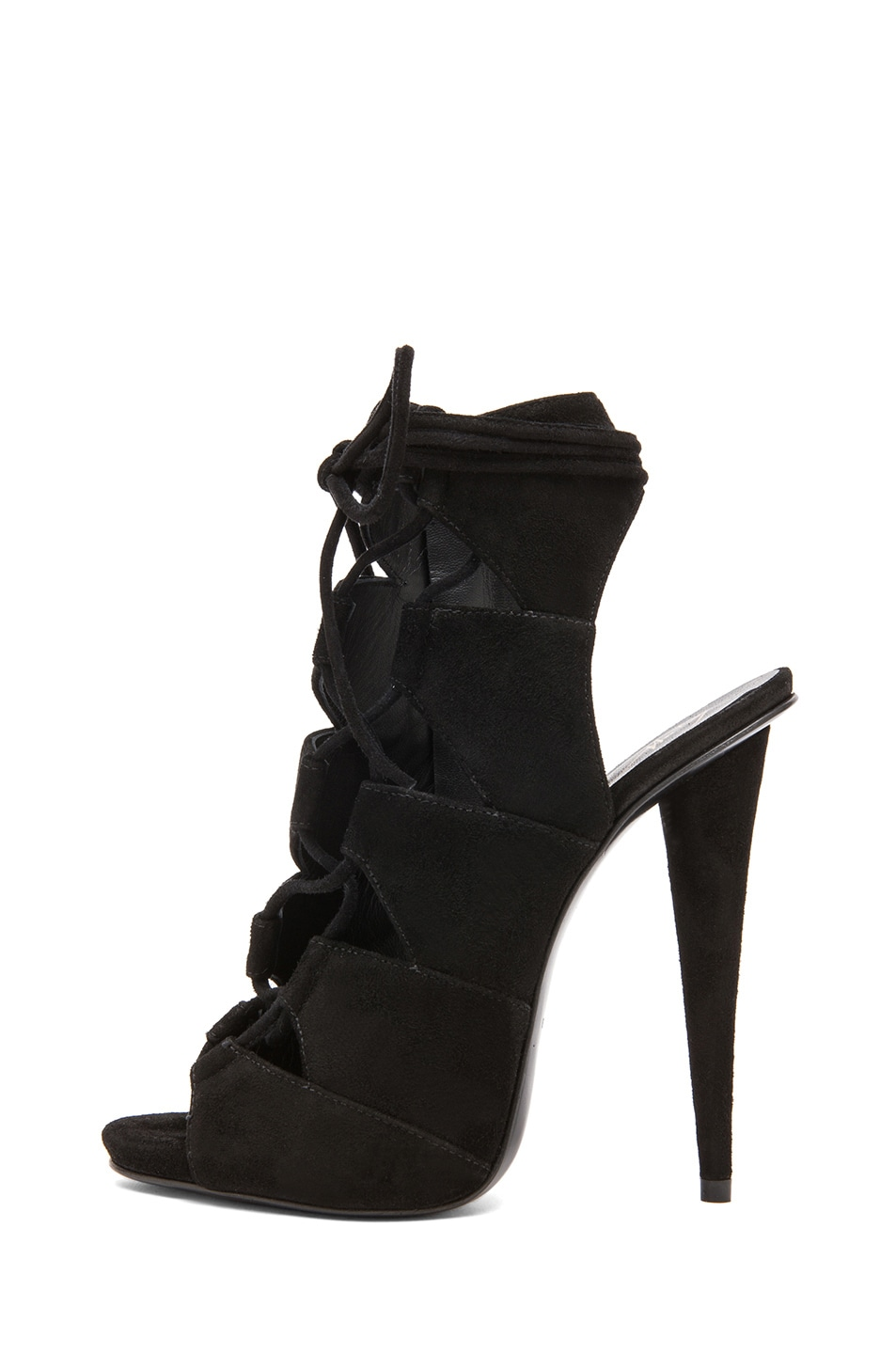 Image 1 of Giuseppe Zanotti Suede Lace Up Heels in Black Suede