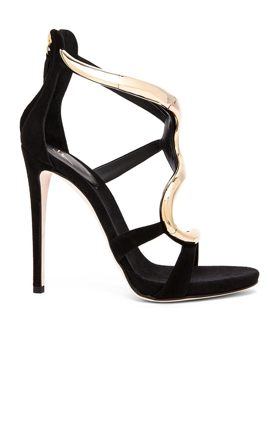 Image 1 of Giuseppe Zanotti Gold Snake Suede Heels in Gold & Black Suede