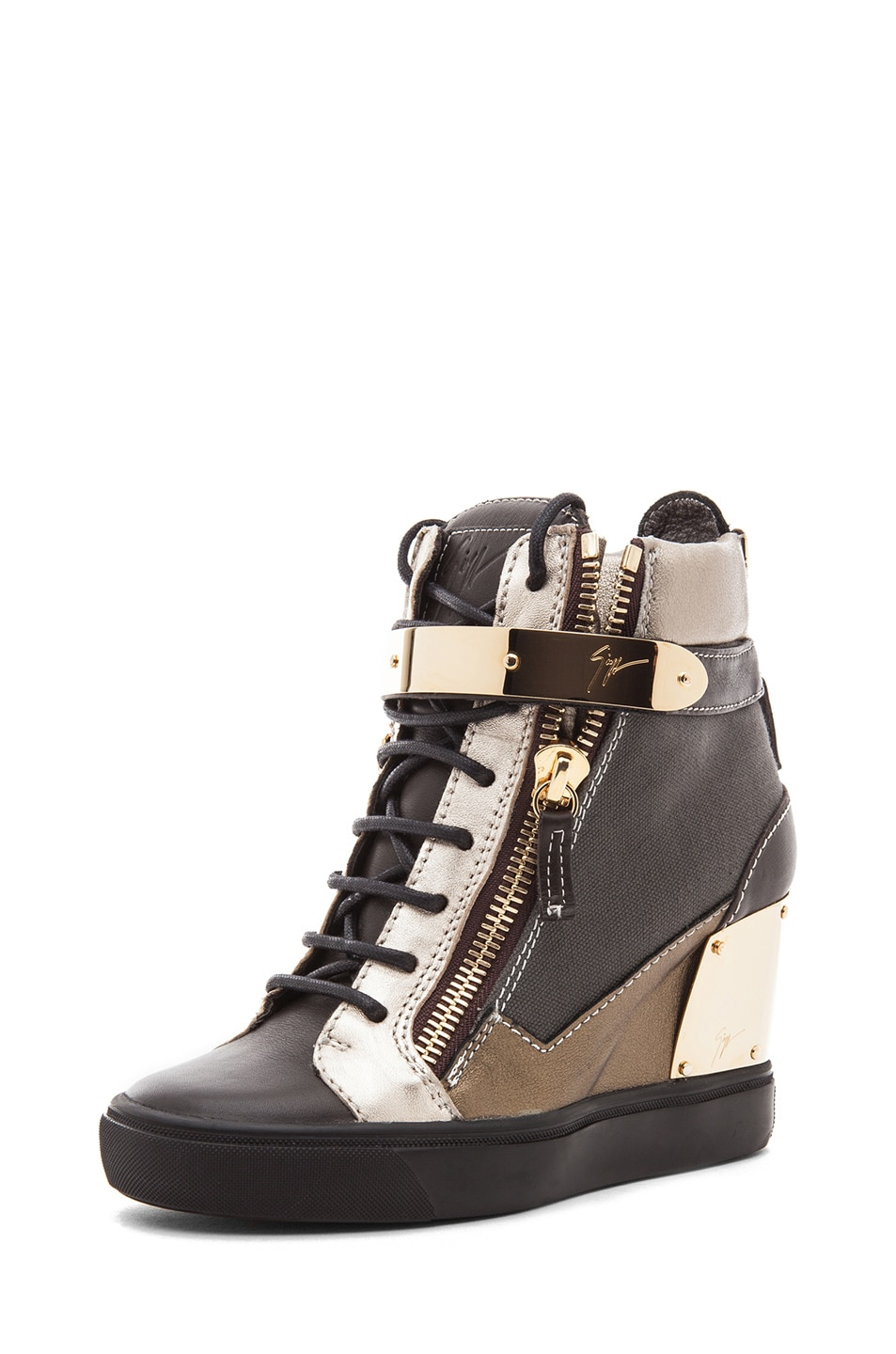 Image 2 of Giuseppe Zanotti Canvas & Leather Gold Strap Sneaker Wedge in Black Metallic