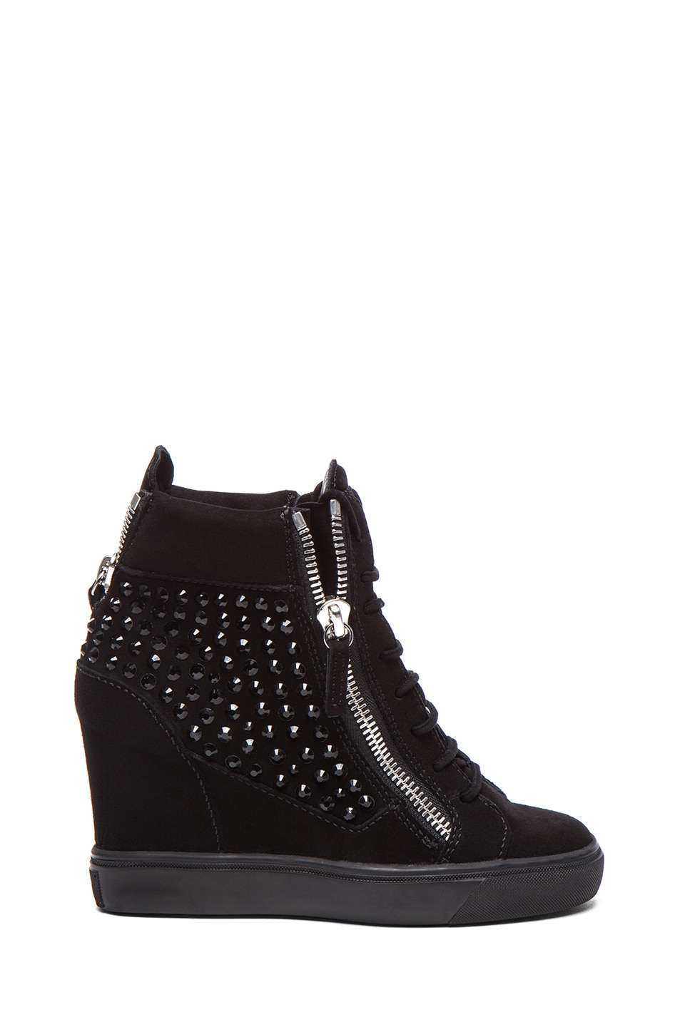 Image 1 of Giuseppe Zanotti Suede High Top Embellished Wedge Sneakers in Black