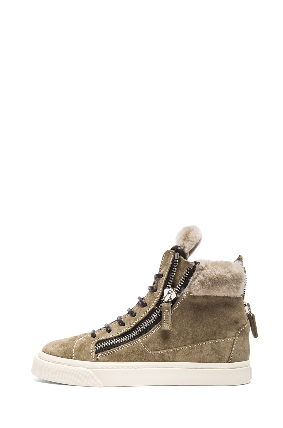 Image 1 of Giuseppe Zanotti High Top Shearling Suede Sneakers in Jasmin