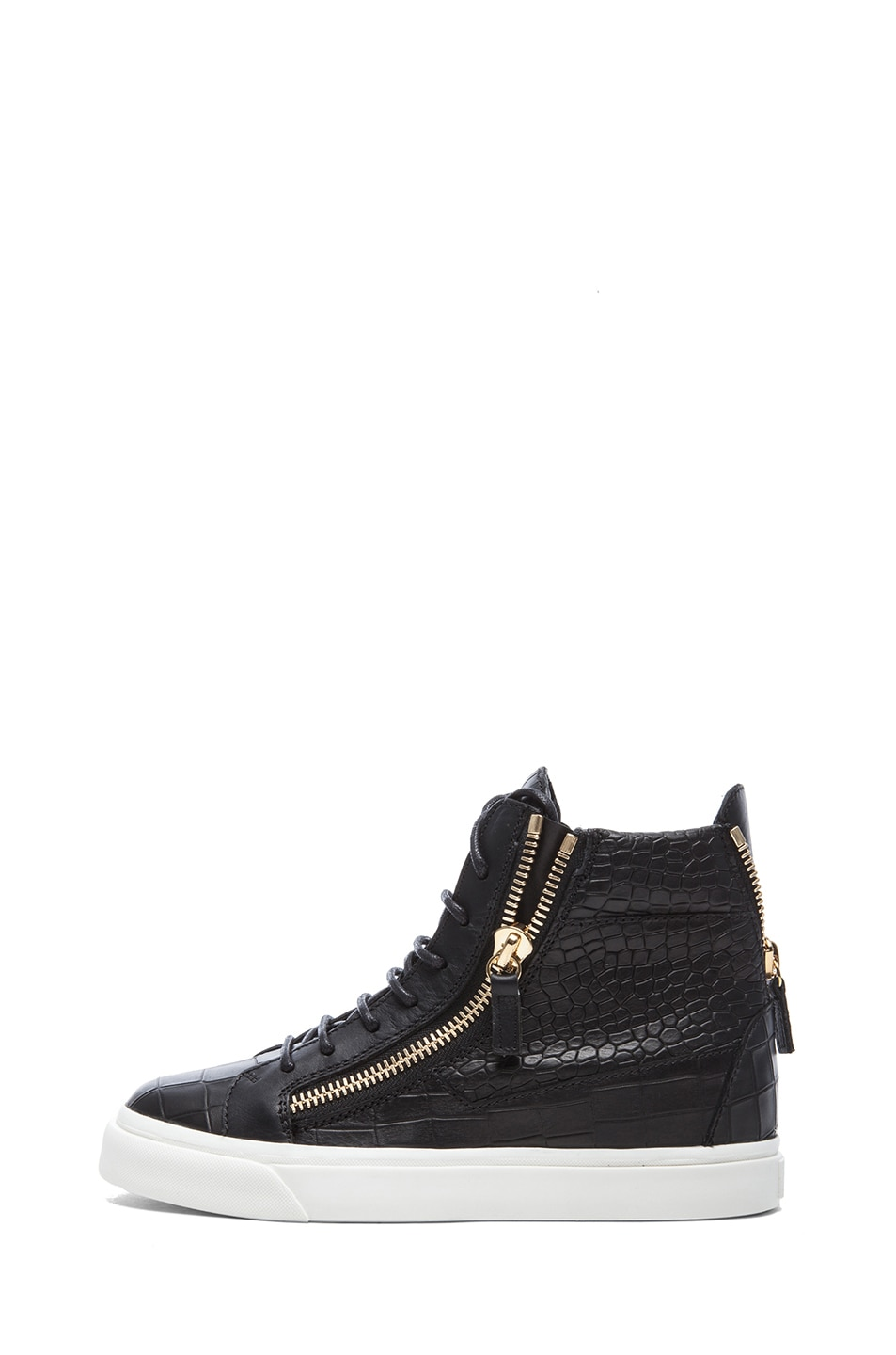 Image 1 of Giuseppe Zanotti London Croc Embossed Leather Sneakers in Black