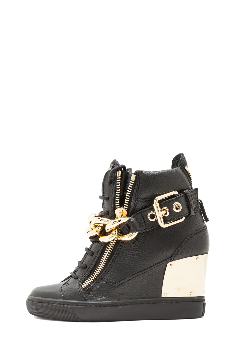 Image 1 of Giuseppe Zanotti Lorenz Grained Leather Wedge Sneakers with Chain in Black