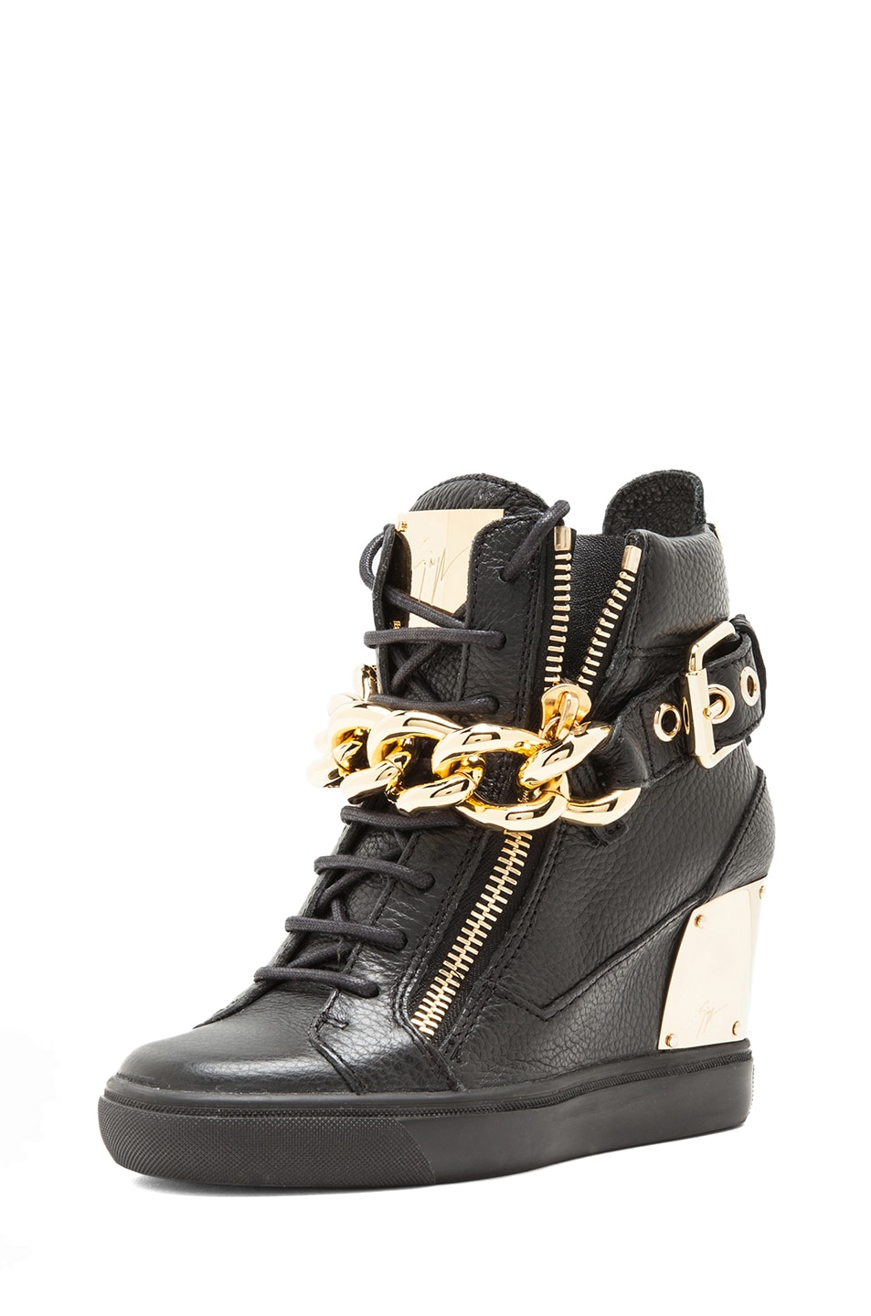 Image 2 of Giuseppe Zanotti Lorenz Grained Leather Wedge Sneakers with Chain in Black