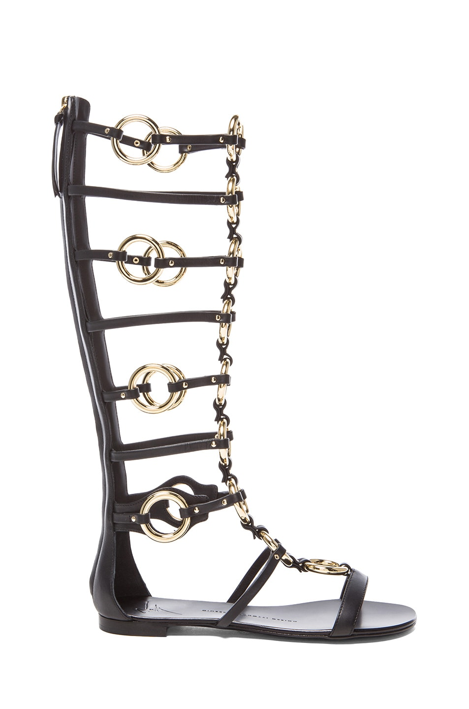 Image 1 of Giuseppe Zanotti Chained Leather Gladiator Sandals in Black