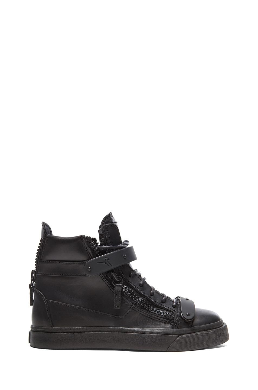 Image 1 of Giuseppe Zanotti Buckled London Sneakers in Black
