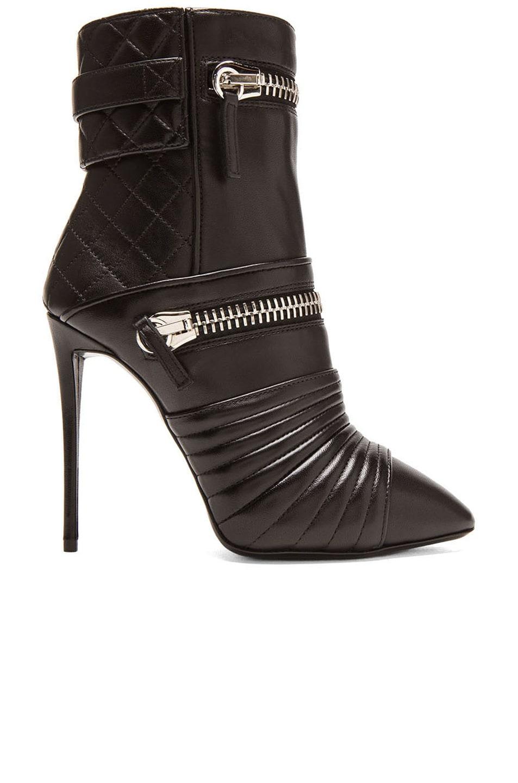 Image 1 of Giuseppe Zanotti Olinda Zipper Leather Booties in Nero