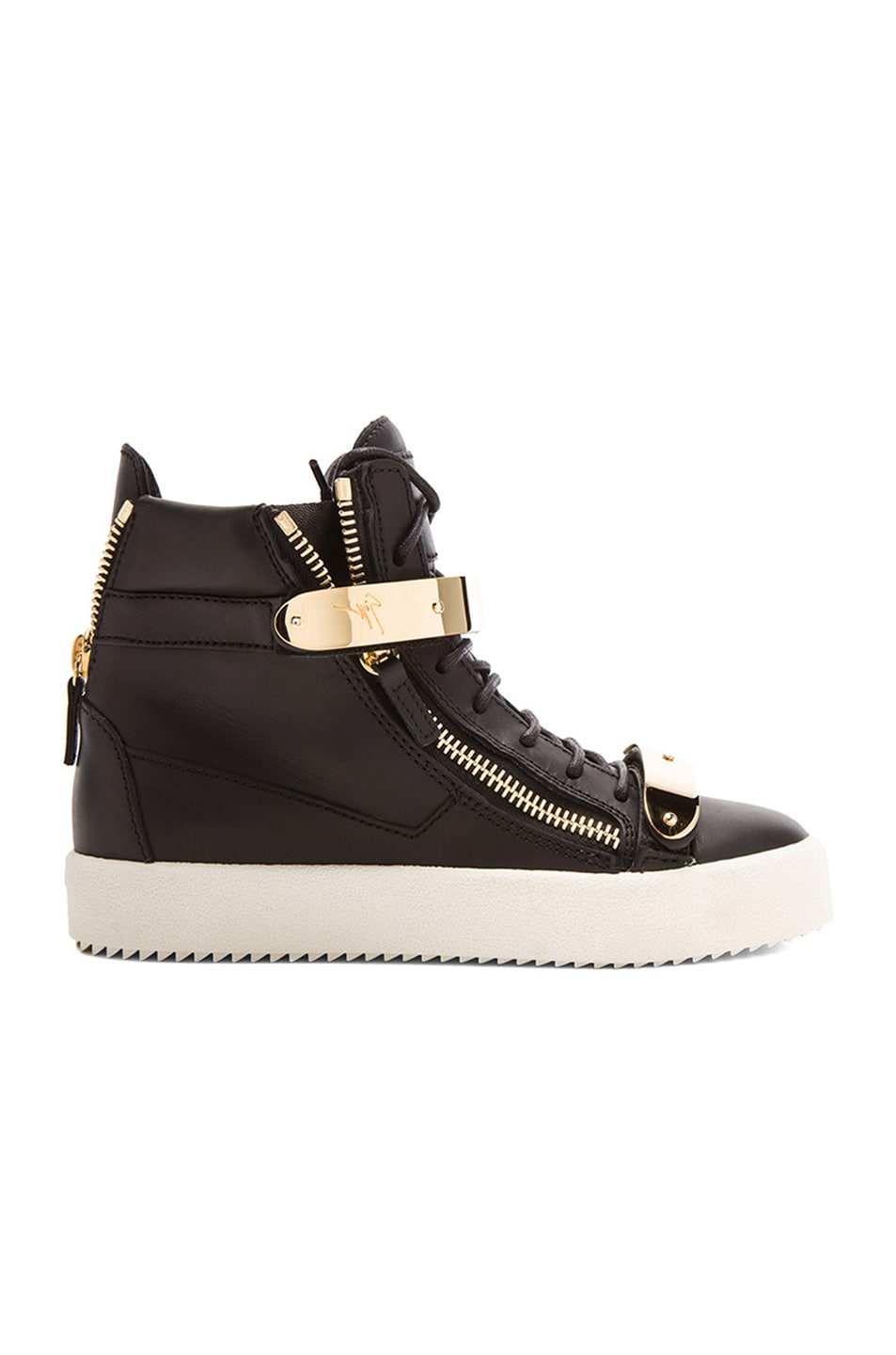 Image 1 of Giuseppe Zanotti Leather Bucked Sneakers in Black