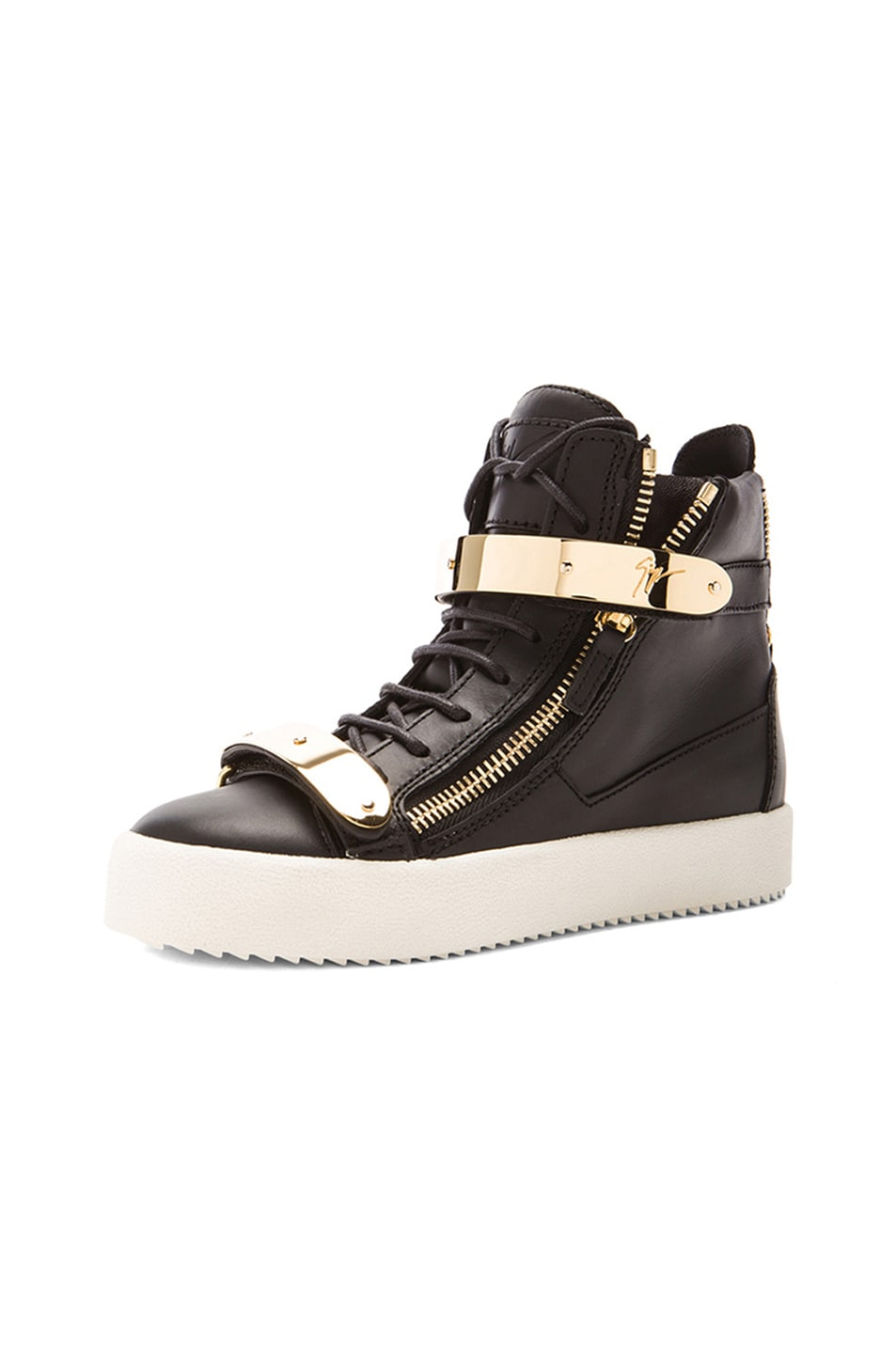 Image 2 of Giuseppe Zanotti Leather Bucked Sneakers in Black