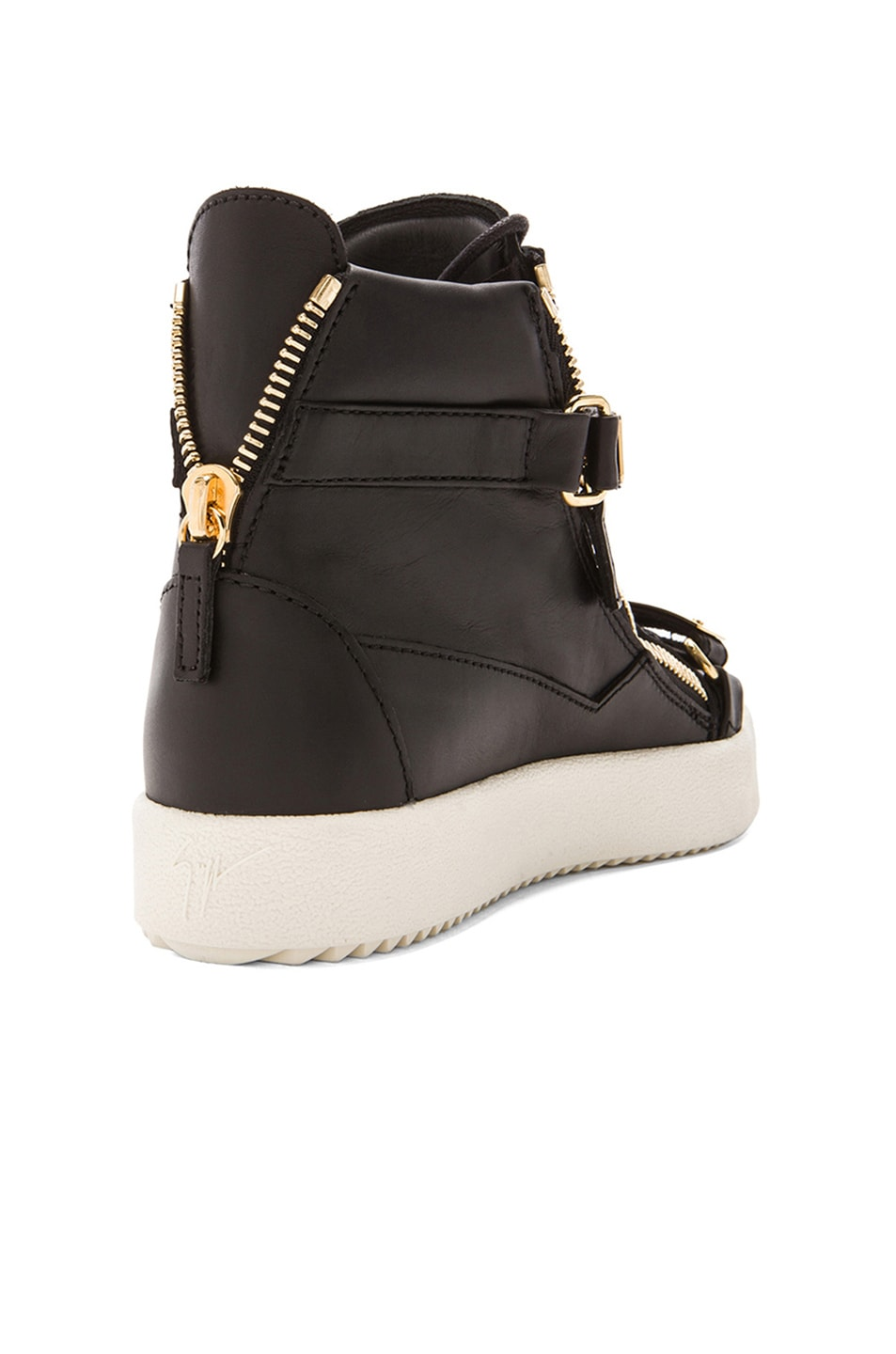 Image 3 of Giuseppe Zanotti Leather Bucked Sneakers in Black